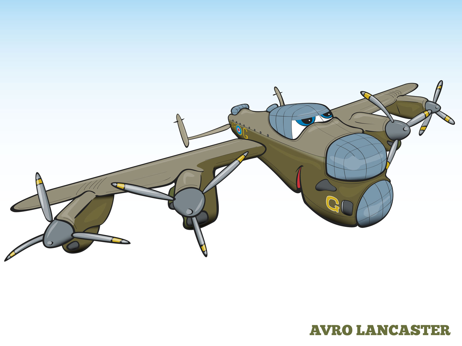 Cartoon style Humanising Characters B52 flying fortress