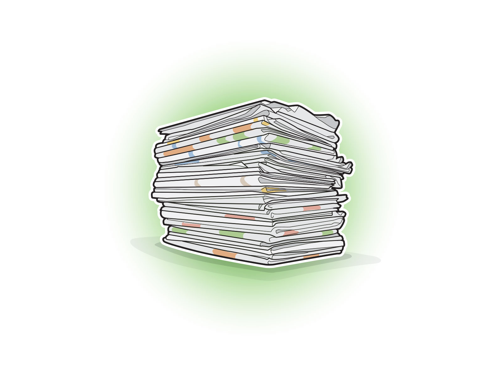 Stylised vector icon illustration of a pile of newspaper for recycling