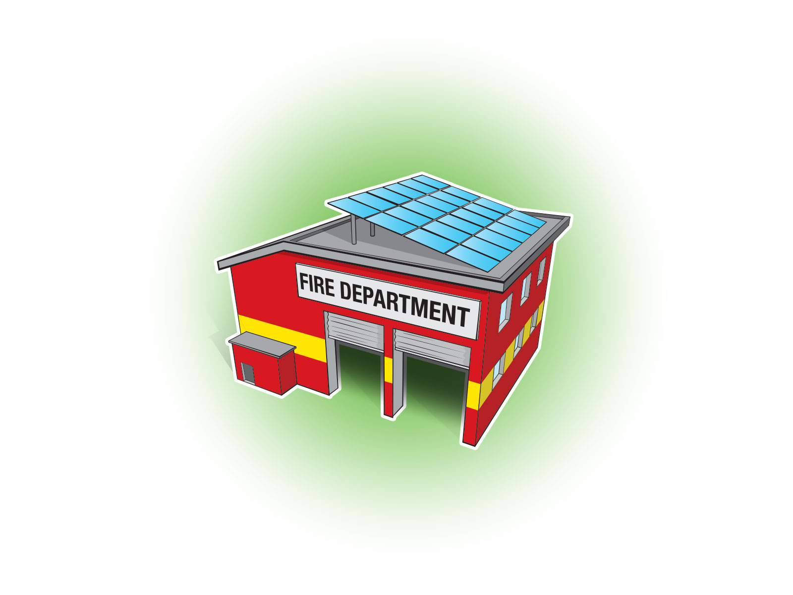 Stylised vector illustrations of fire department with solar panels