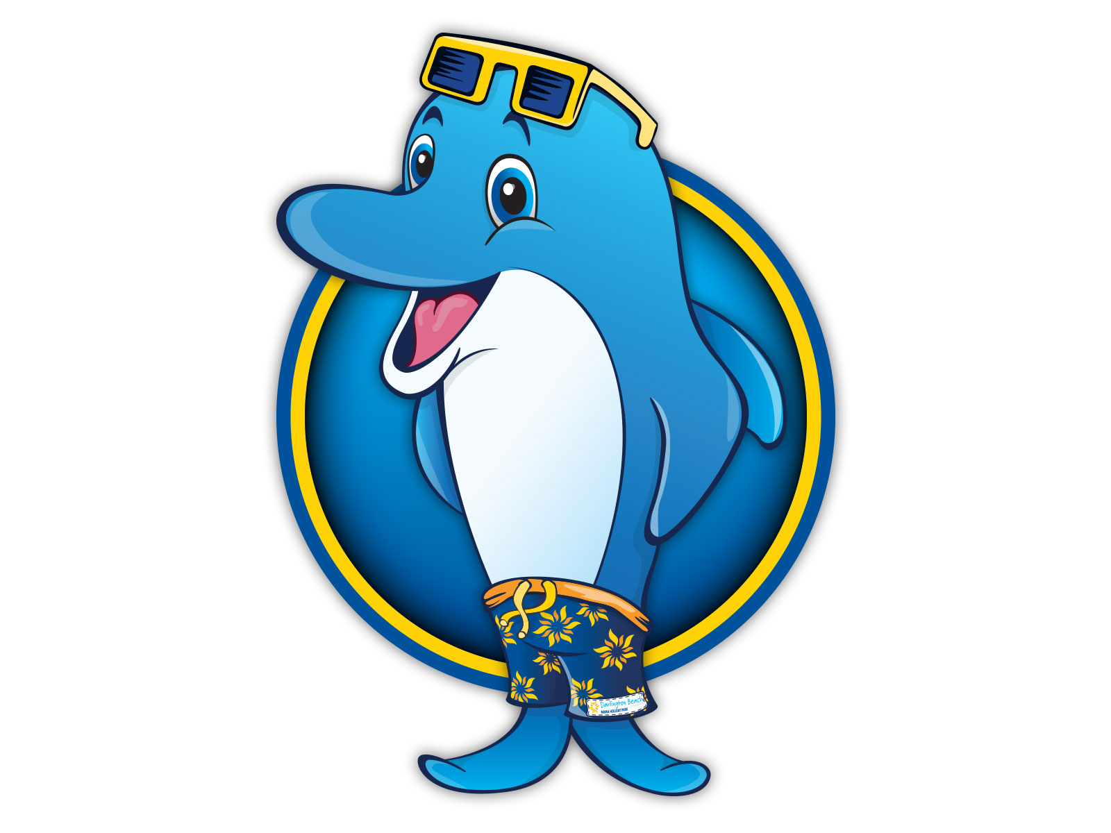 Colourful cartoon style dolphin character illustration for mascot