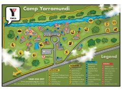 Top view colourful directional interesting campus map illustration